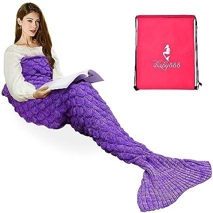 7899f8e27c Handmade Knitted Mermaid Tail Blanket,T-tviva All Seasons Warm Bed Blanket  Sofa Quilt