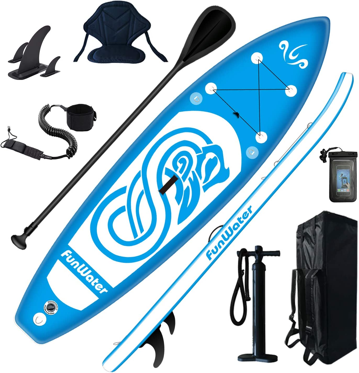 Youth Adults Beginner Wide Stance Bottom Fins for Surfing Control oddpaddle Inflatable Stand Up Paddle Board 11/×33/×6 Non-Slip Deck with Premium SUP Accessories