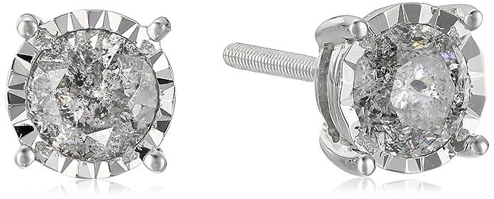 4e8ca1921b20 Amazon Collection14Â K oro blanco Diamante redonda milagro Tuerca (J-K  color