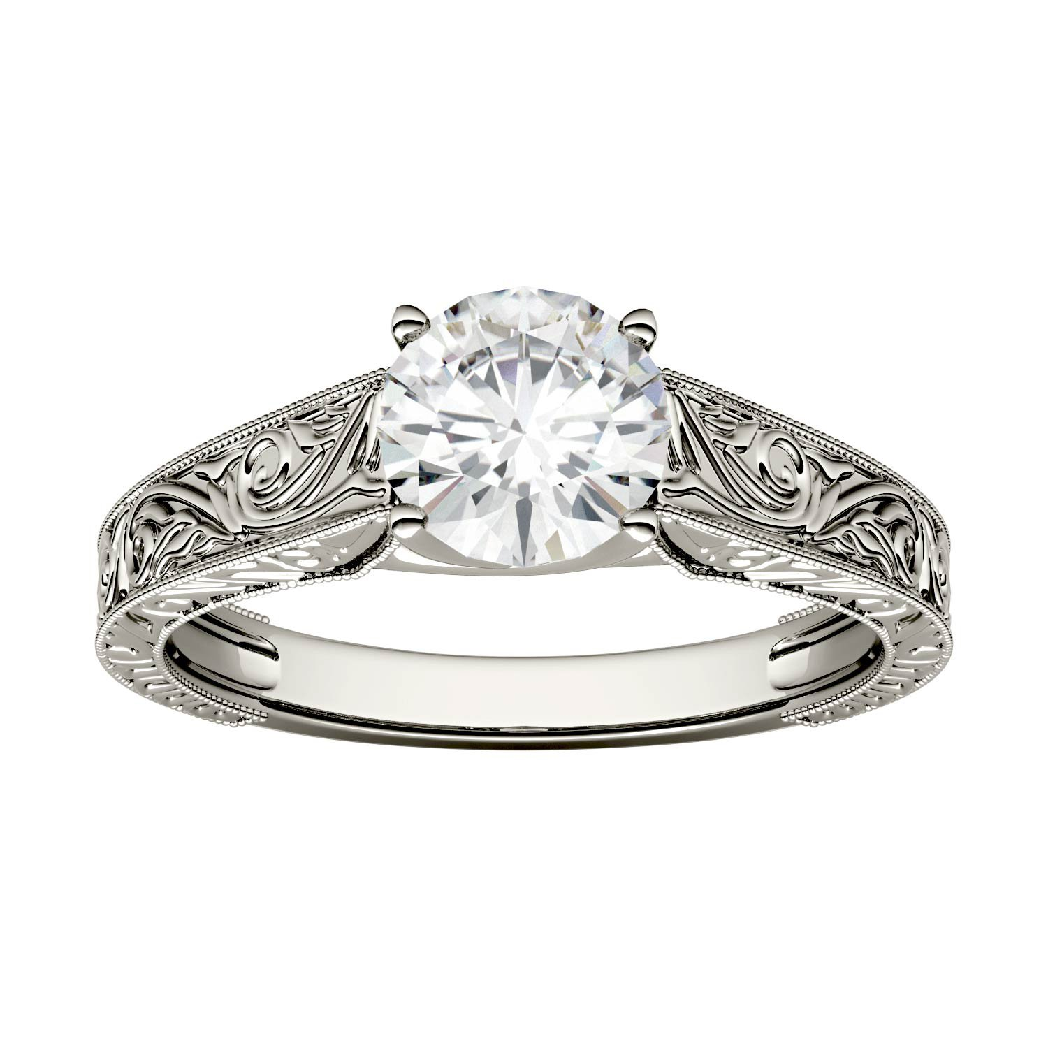Forever One Round 6.5mm Moissanite Vintage Engagement Ring-size 6, 1.00ct DEW By Charles & Colvard