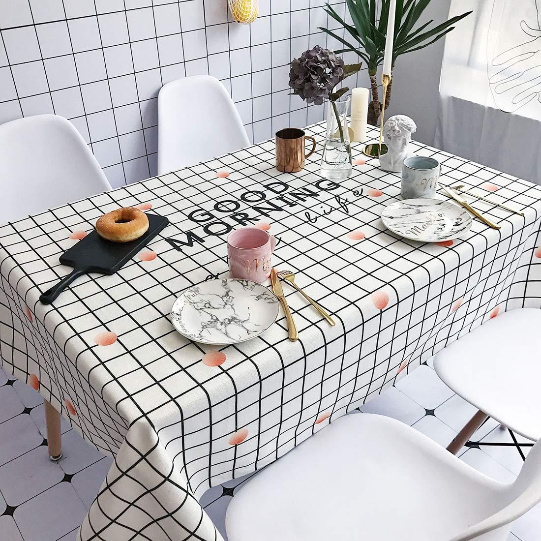 Anstorematealliance Home Textile ホームテキスタイルおはようございますパターン防水アンチスカーディング長方形コットンとリネンテーブルクロス、サイズ:200 x 140 cm   B07RZMQ4YM