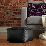 Square Beanbag Stool in BLACK Faux Leather