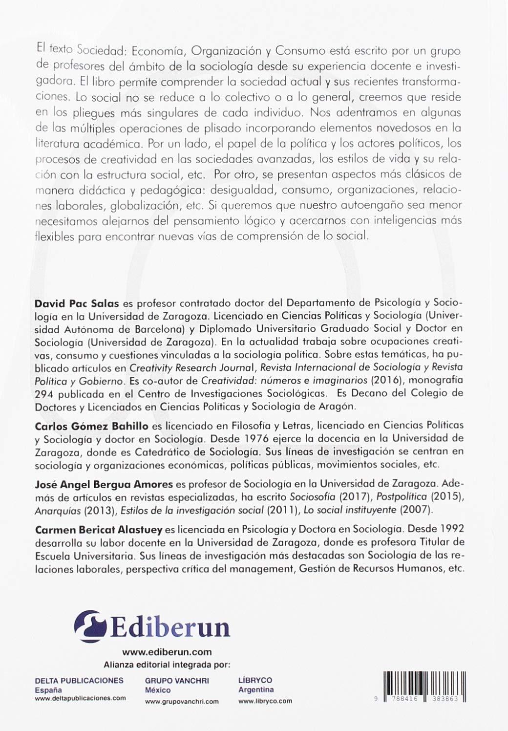 SOCIEDAD: ECONOMÍA; ORGANIZACIÓN Y CONSUMO: Amazon.es: Pac Salas, David, Gómez Barillo, Carlos, Bergua Amores, José Ángel, Bericat Alastuey, Carmen, Pac Salas, David: Libros