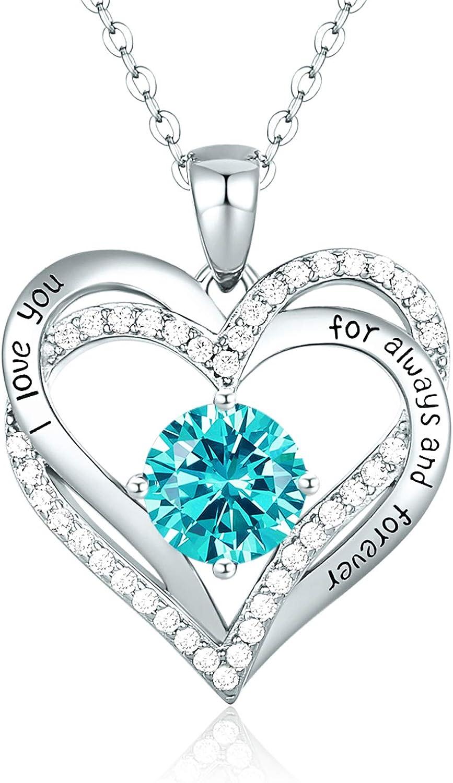 CDE Collares de Corazón para Mujer de Plata 925 Collares Colgante de Mujer Colgante de Diamantes Niña, con Caja Regalo, Regalo para Día de la Madre Esposa y Novia