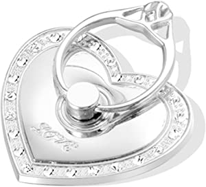 Phone Stand, Luxury Updated Re-Usable Metal Stainless Phone & Tablet Anti Drop Ring Stand Holder with Diamonds for iPhone iPod iPad Samsung and More (Heart Shape) (Silver)