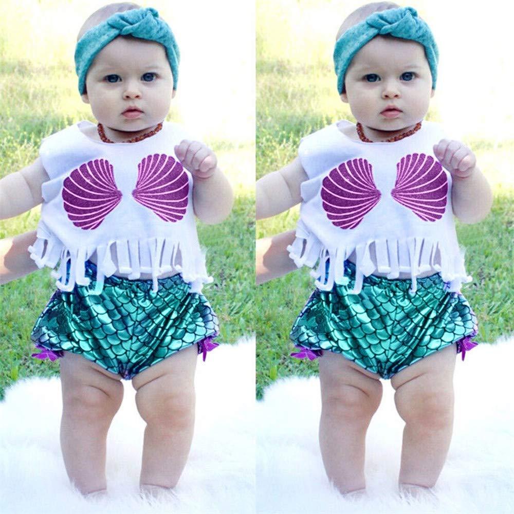 Sleeveless Shell Printed Beach Swimsuit+Shorts Swimwear Set wodceeke Children Baby Tassels Swimwear
