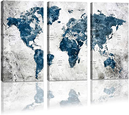 Framed Wall Art Map of the world Watercolor Abstract World Map Wall Decal Large Office Canvas Wall Art Painting