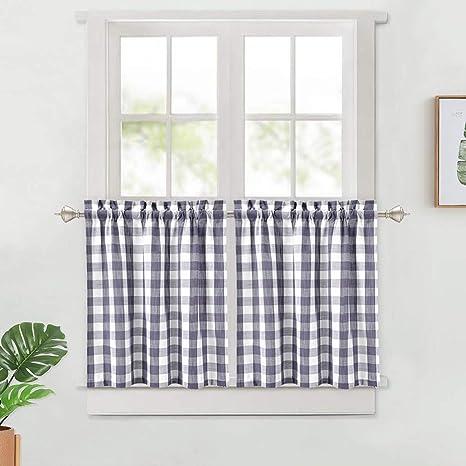 Haperlare Kitchen Curtain Valance Plaid Gingham Thick Yarn Dyed Valance Curtain for Bathroom Rod Pocket Cafe Curtains Navy Blue 56 x 15 Buffalo Check Valance Curtains for Windows