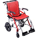 "Hi-Fortune 21 lbs Lightweight Transport Medical Wheelchair with Adjustable Armrests and Hand Brakes, Portable and Folding with Magnesium Alloy, 18"" Seat, Red"