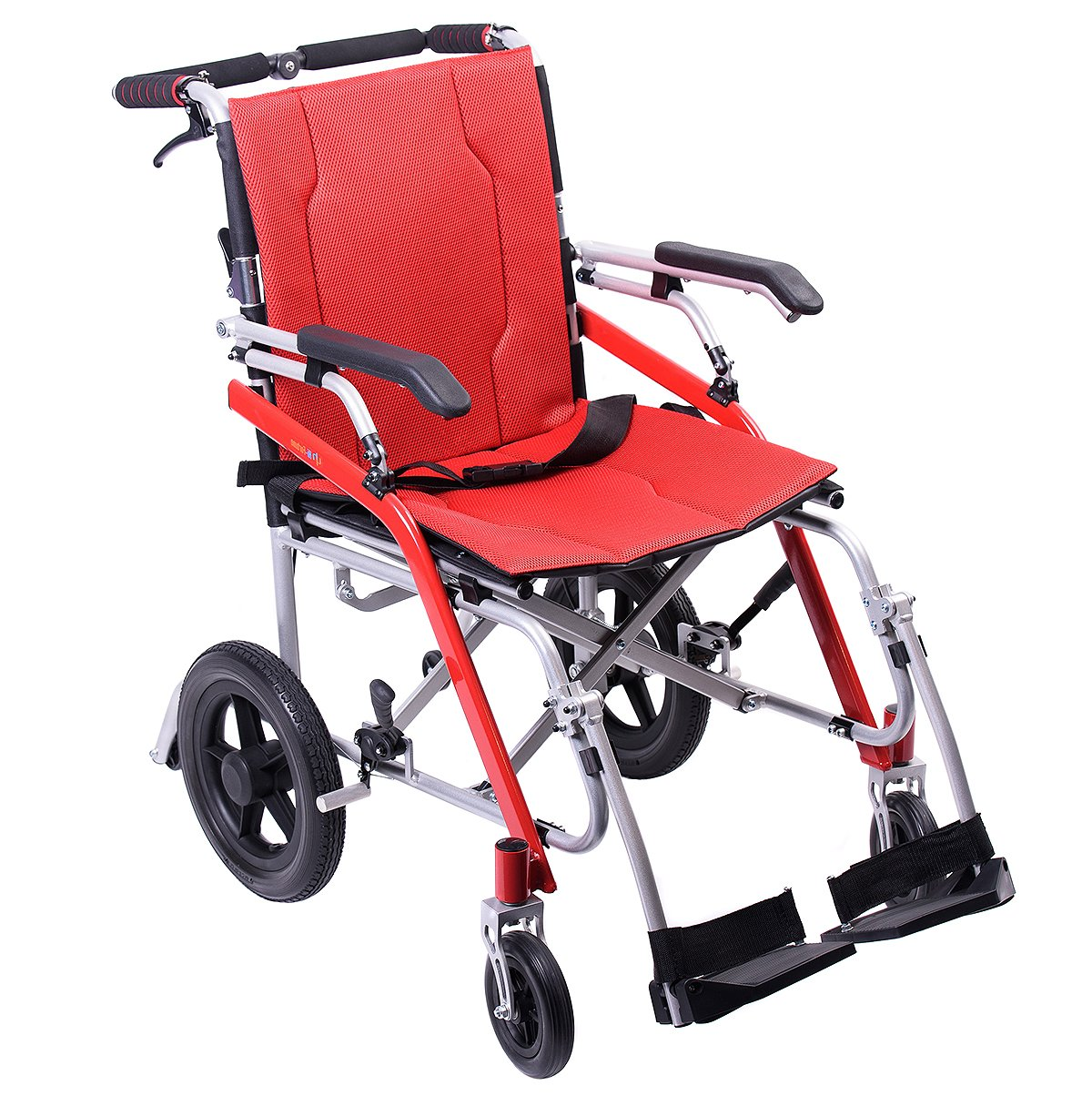 """Hi-Fortune Lightweight Transport Medical Wheelchair with Adjustable Armrests and Hand Brakes, Portable and Folding with Magnesium Alloy, 18"""" Seat, Red, 21lbs"""