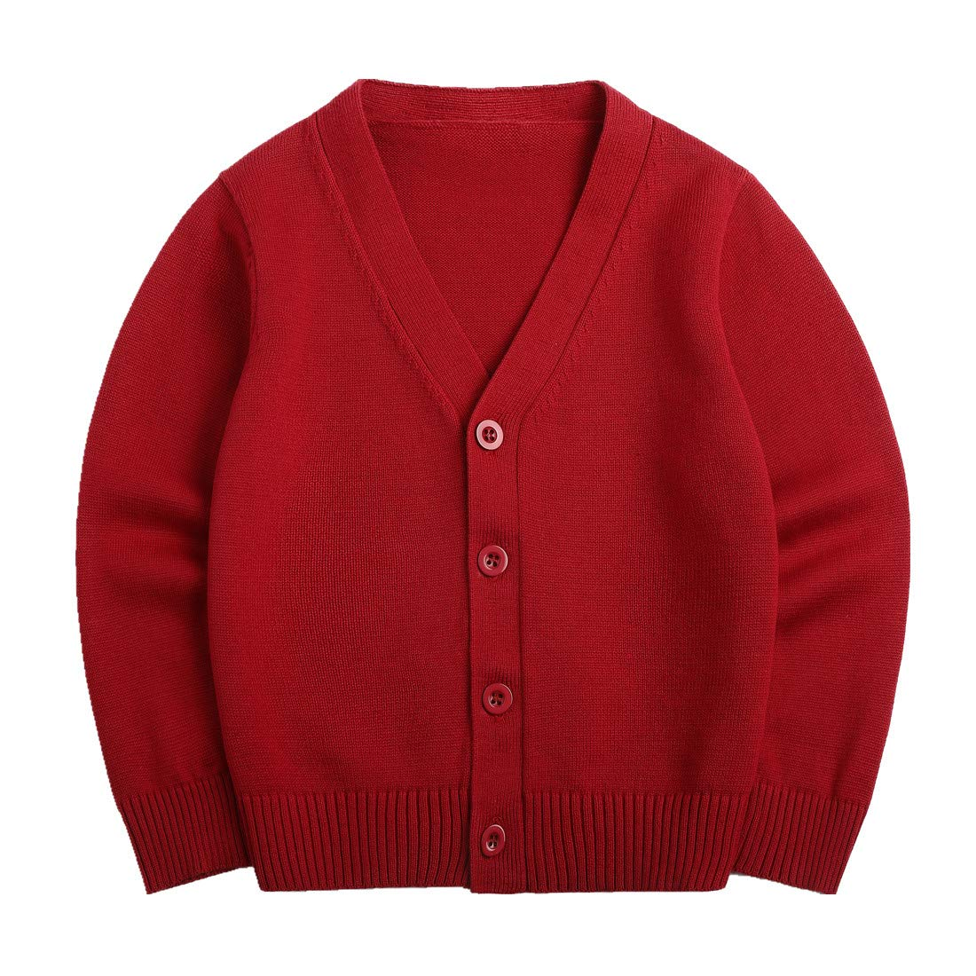Sooxiwood Little Boys Cardigan Coat V-Neck Striped Size 4T Red