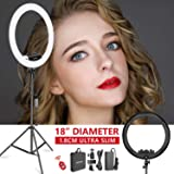 Neewer Ring Light Kit [Upgraded Version-1.8cm Ultra Slim]-18 inches,3200-5600K,Dimmable LED Ring Light with Light Stand…