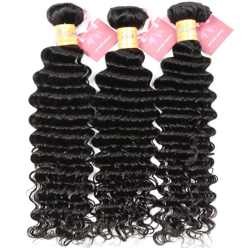 Brazilian Deep Wave 3 Bundles Human Hair (10 12 14) 8A Unprocessed Brazilian Virgin Hair Deep Wave Weave Bundles Natural Black