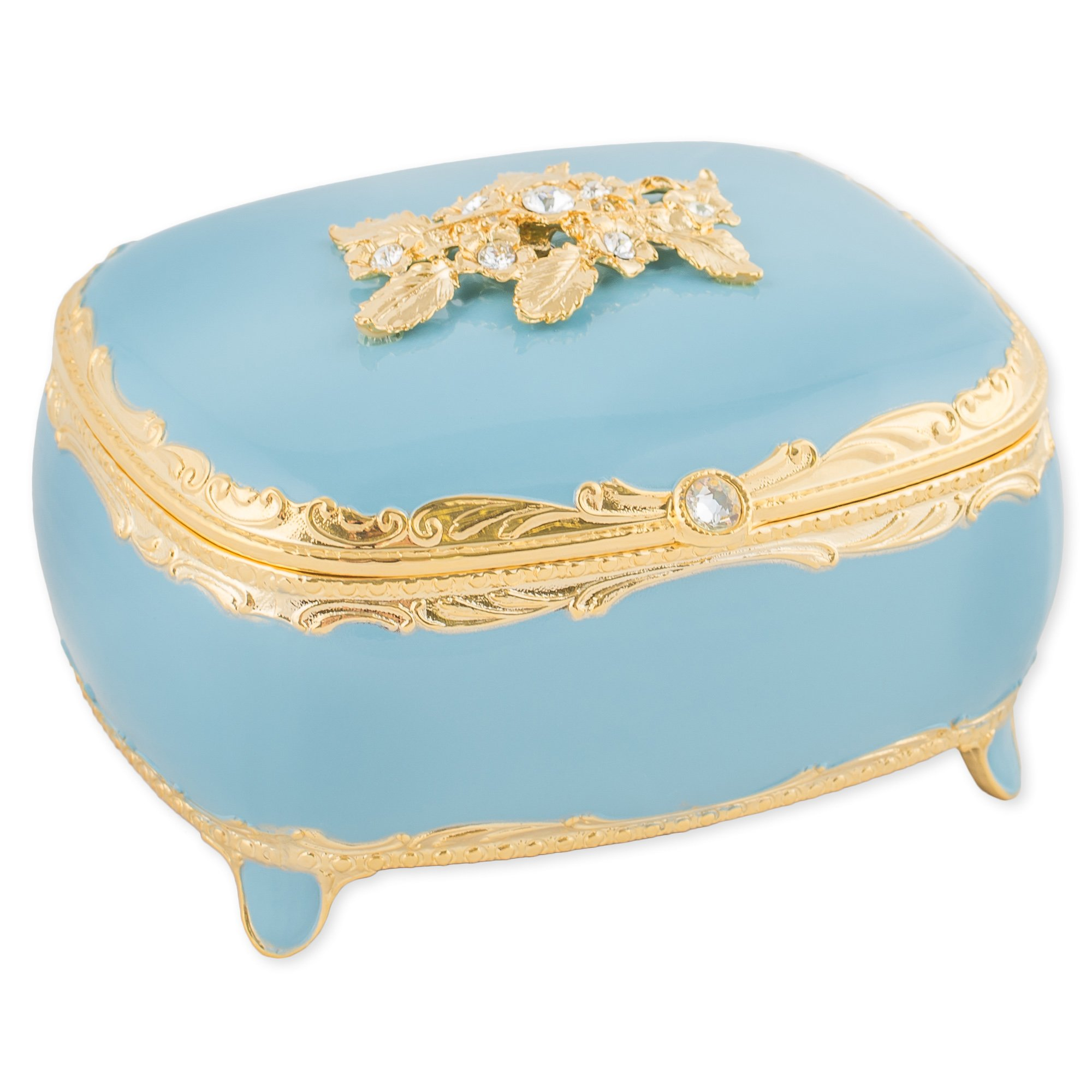 Blue with Swarovski Crystals and Gold Accents Metal Jewelry Music Box Plays Fur Elise