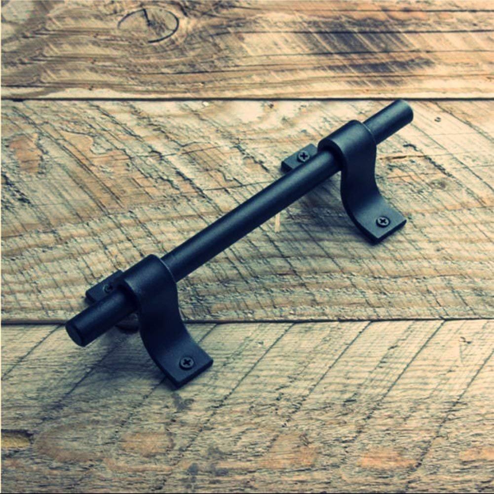 BA016-196mm Manija de la puerta de granero Perilla de la manija de acero al carbono resistente negro para puerta corrediza Herrajes para puertas de madera Puerta de entrada