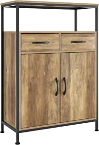 HOMECHO Side Storage Cabinet, Industrial Floor Standing Cabinet with 2 Fabric Drawers, Cupboard Sideboard with Shelves and Doors, Home Office, Rustic Brown