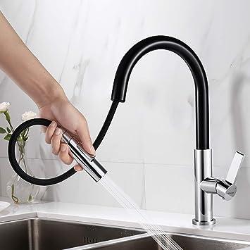 360° Küchenarmatur Ausziehbar Spültischarmatur Wasserhahn Mischbatterie Schwarz