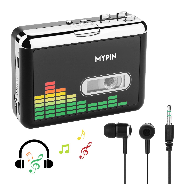 MYPIN Lecteur de Cassettes Audio Portable Lecteur de Cassettes Audio à MP3 et enregistreur à Cassette avec écouteurs Aucun Ordinateur requis PC000249-NCFBA