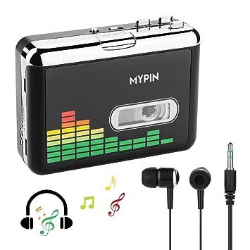 Convertidor USB Cinta Audio Cassette a MP3 Reproductor Conversor Casete,Reproductor de Cinta de Audio portátil Retro inverso automático Walkman con ...