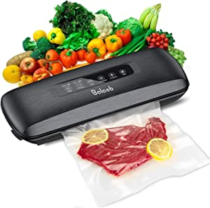 Beleeb Vacumm Sealer Machine,Strong Suction Air Sealing System, Automatic Food Sealer for Food Savers,Includes 10 Precut Bags,for Sous Vide and Food Storage,Dry & Moist Food Modes,Dirt-Resistant