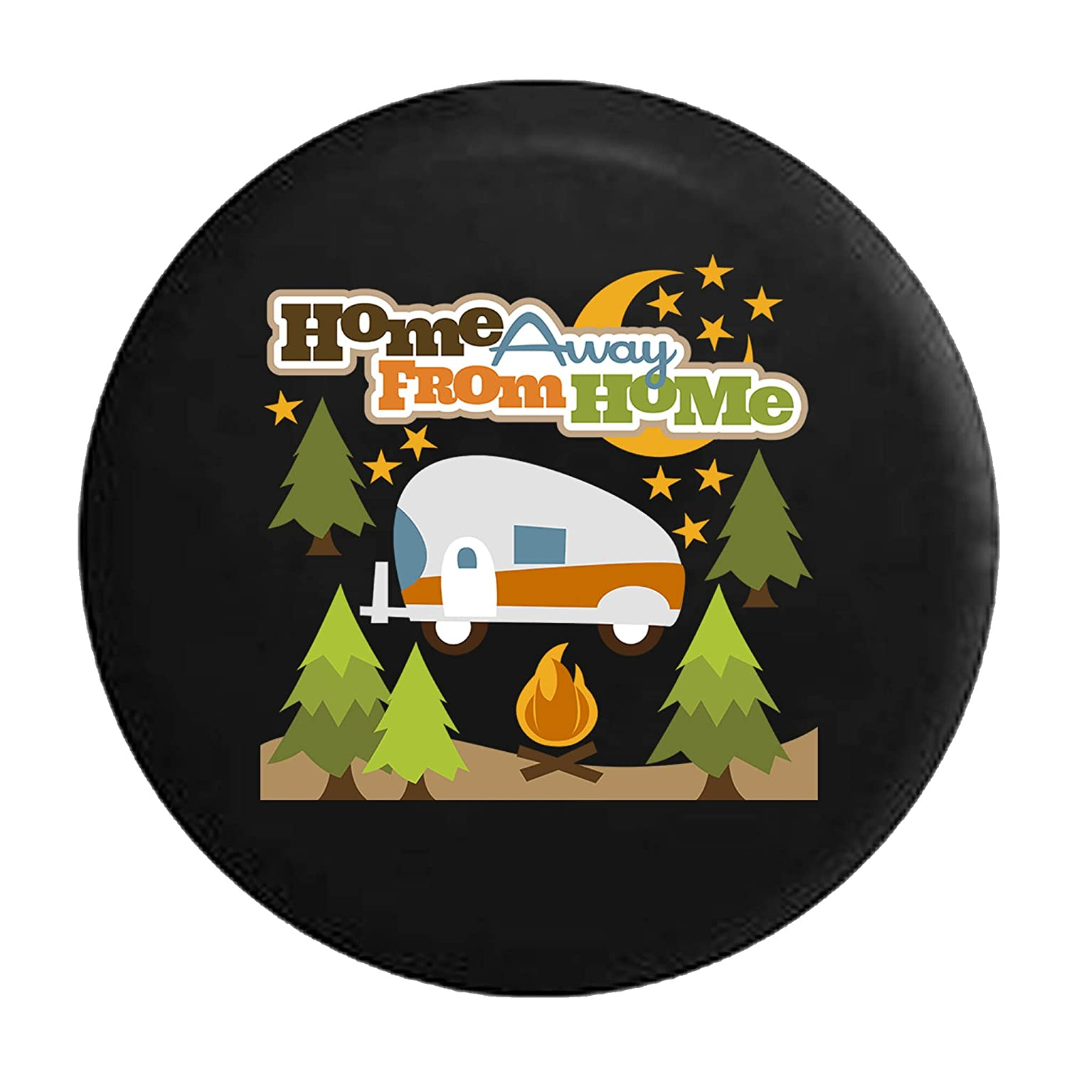 Home Away From Home RV Trailer Campfire Camping Tire Cover Black 29 in Pike Outdoors