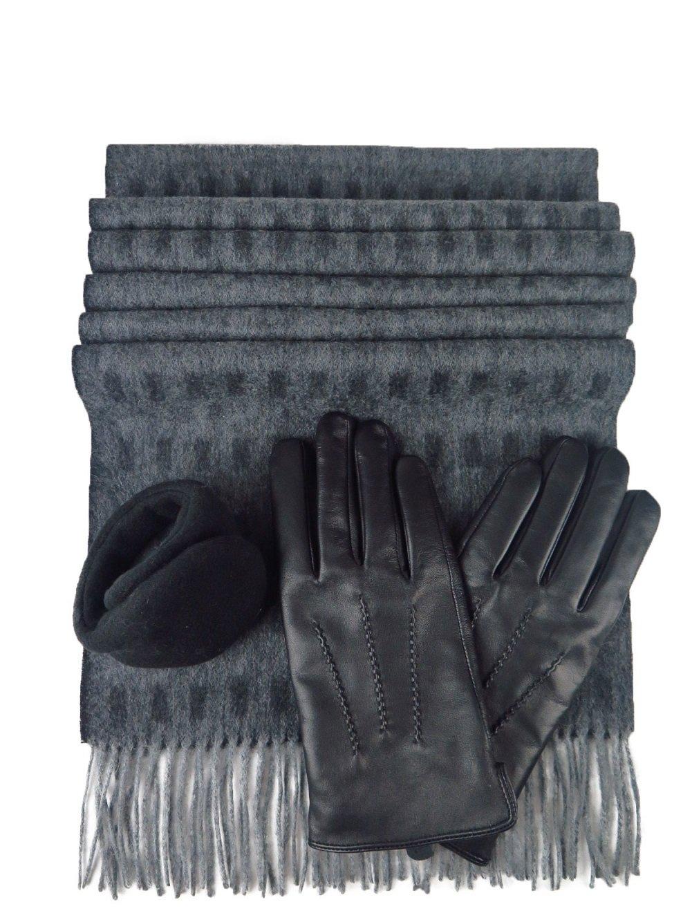 Men's Black Leather Glove Wit Rabbit Fur & 100% Cashmere Scarf & 180s Ear Warmer Set (Gray&black3, large)