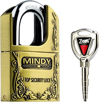 Mindy Vintage Zinc Alloy Keyed Padlock Shackle Latches Pad Lock 4 Keys One Pack