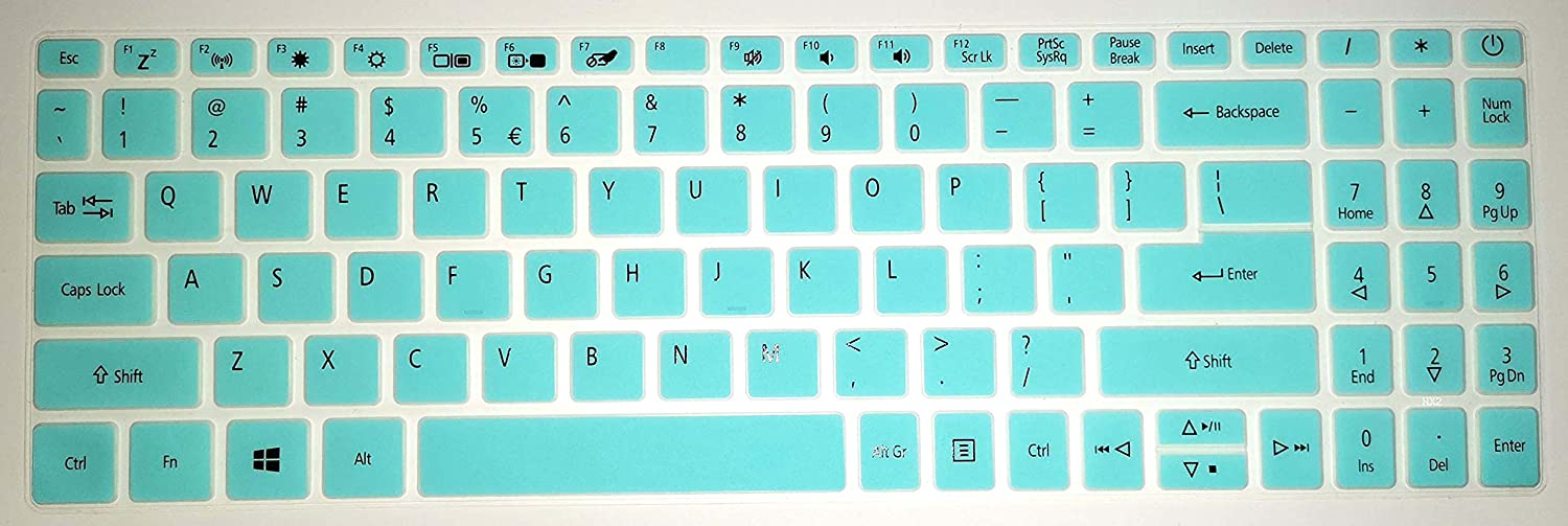BingoBuy US Layout Keyboard Protector Cover Skin Compatible with Acer Aspire A515-43 A515-44 A315-56 with BingoBuy Card Case (Tiffany Blue)
