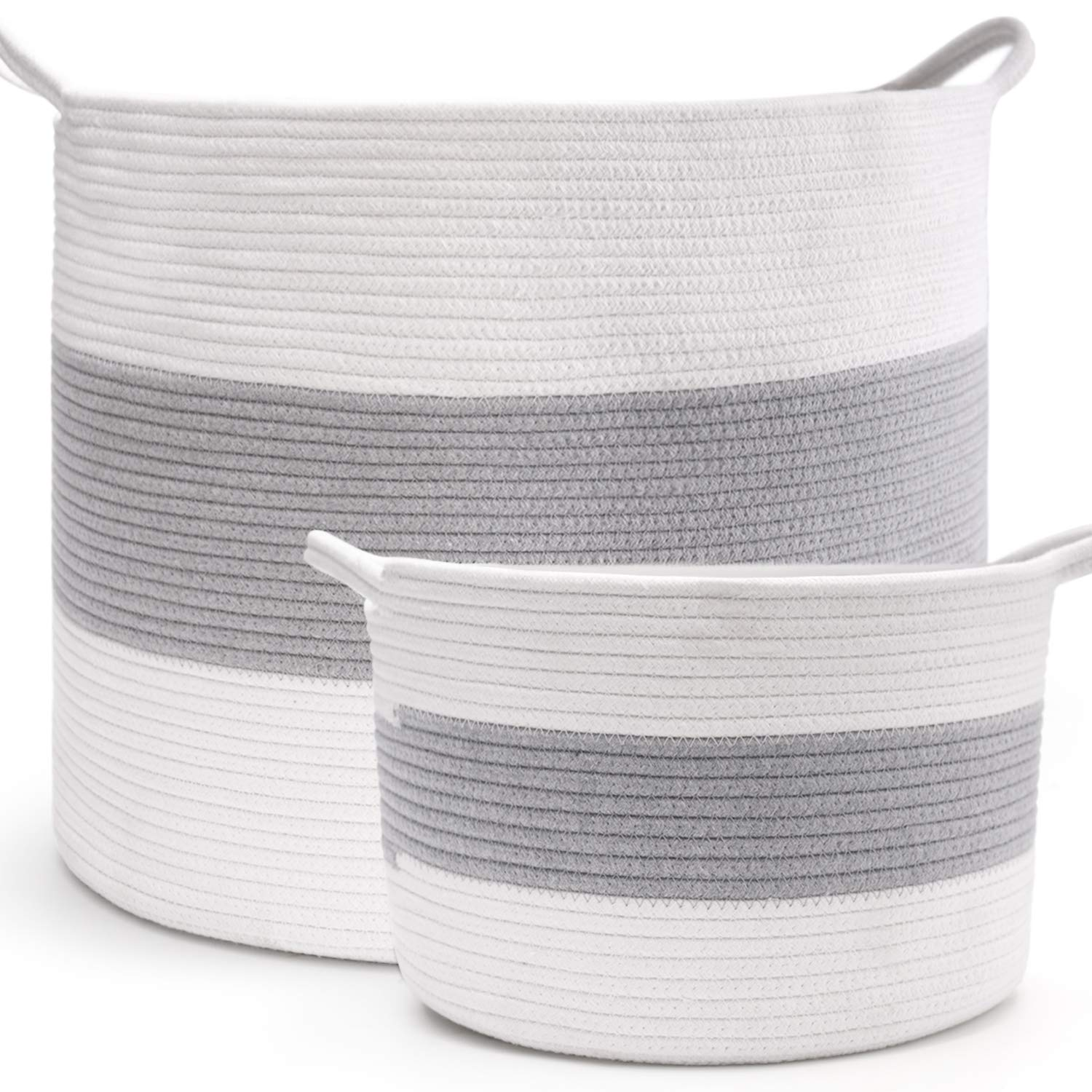 HAN-MM XXXL Extra Large Storage Baskets, 2PCS Laundry Baskets, Blanket Basket Cotton Rope Set (Large Size 20''X16'' Small Size 12''x8'') -Woven Baskets with Carry Handles for Towel,Toys Grey and Off-White by HAN-MM
