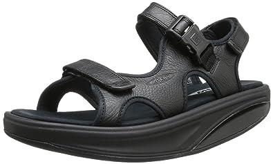 de8e3793dc9c MBT Shoes Men s Kisumu 3S Black Leather Sandal  Sandal Black 6 Medium (D