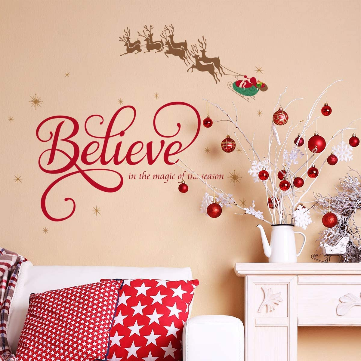 """ufengke """"Believe Quote Wall Stickers Santa Claus Reindeer Snowfalkes Window Clings Decal for Showcase Home Decor Merry Christmas Decoration"""