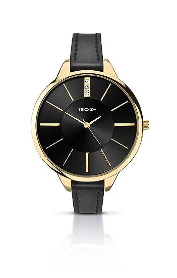 e912eb4b69df Sekonda Women's Quartz Watch with Black Dial Analogue Display and Black PU  Strap 2252.27