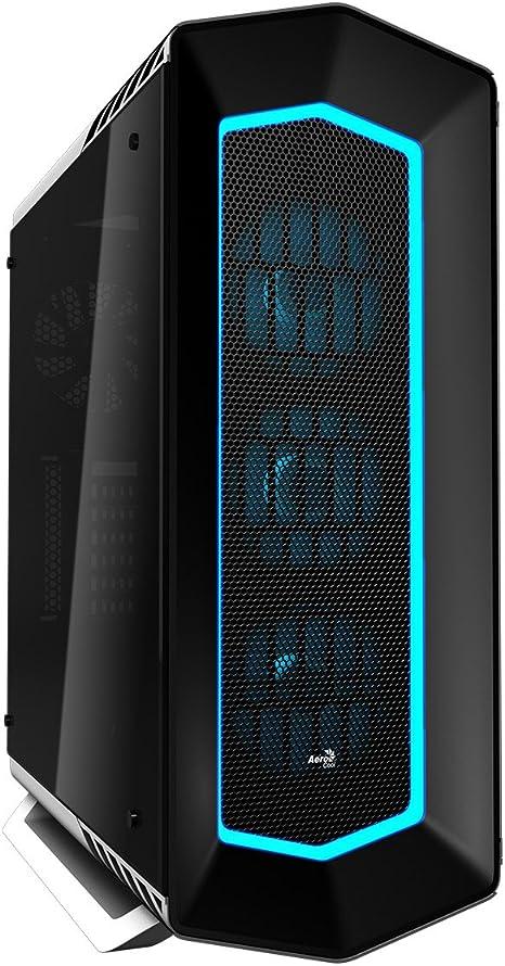 Aerocool P7C1PRO - Caja gaming para PC (semitorre, ATX, Iluminación RGB 4 modos, panel lateral cristal templado, 7 ranuras expansión, + HUB P7H1, + 3 ventiladores P7F12 y 1 trasero 12cm), color blanco: Amazon.es: Informática