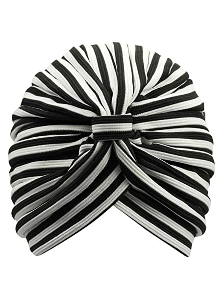 Black   White Striped Fashion Turban Head Wrap with Front Knot at ... 44ffc27a844