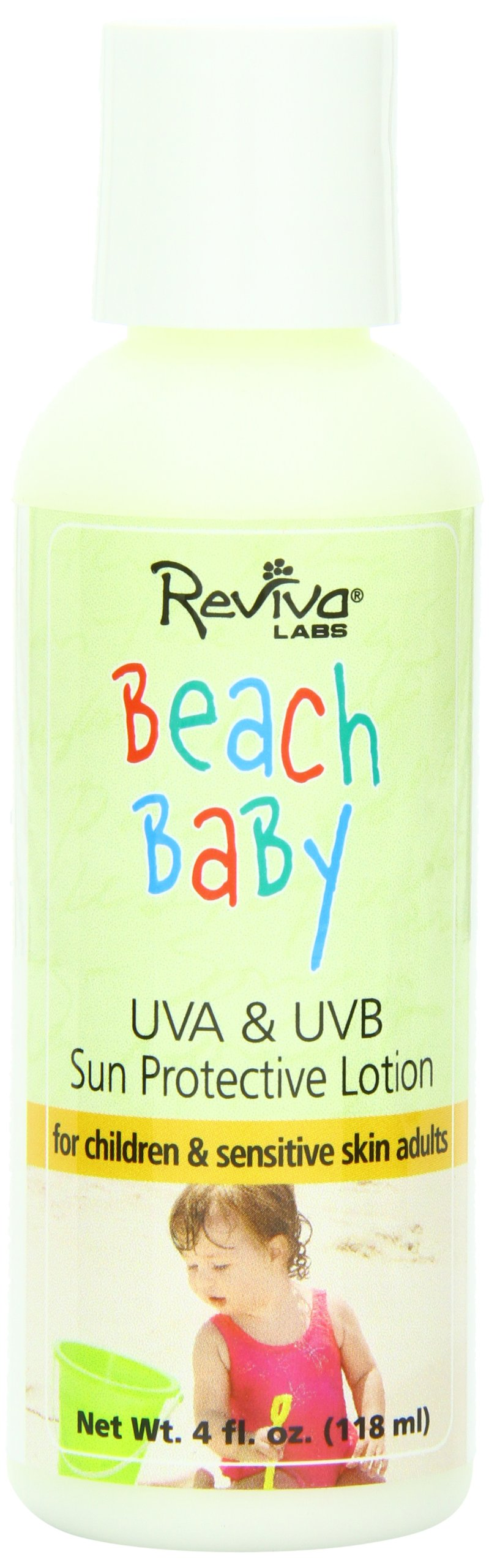 Reviva Labs UVA & UVB Sun Protective Lotion, Beach Baby, SPF 25, 4-Ounces  (Pack of 3)