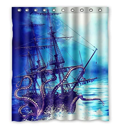 Image Unavailable Not Available For Color GCKG Pirate Ship Octopus Shower Curtain