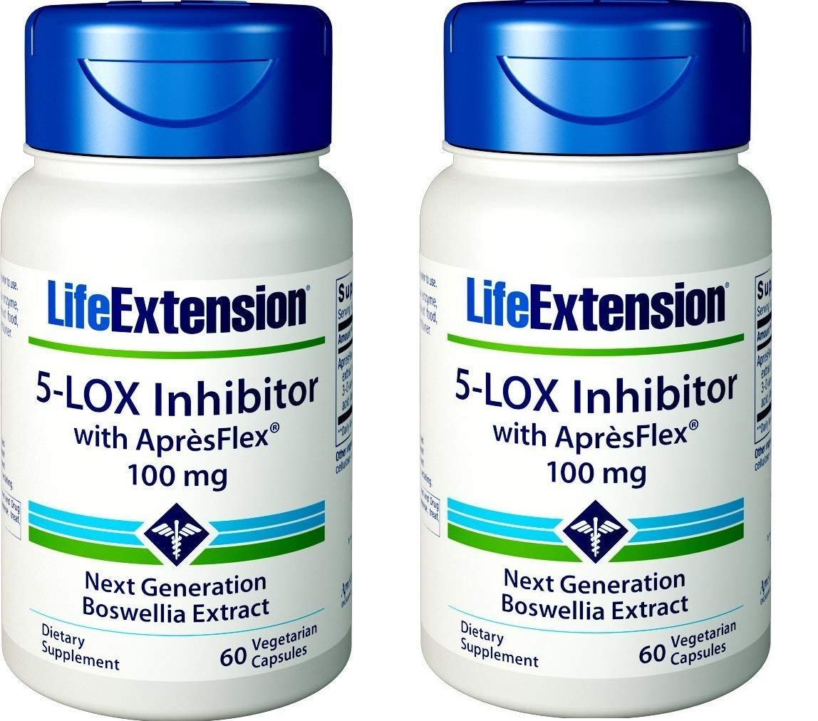 Life Extension 5-LOX Inhibitor with ApresFlex, 100 Milligram, 60 Vegetarian Capsules Pack of 2