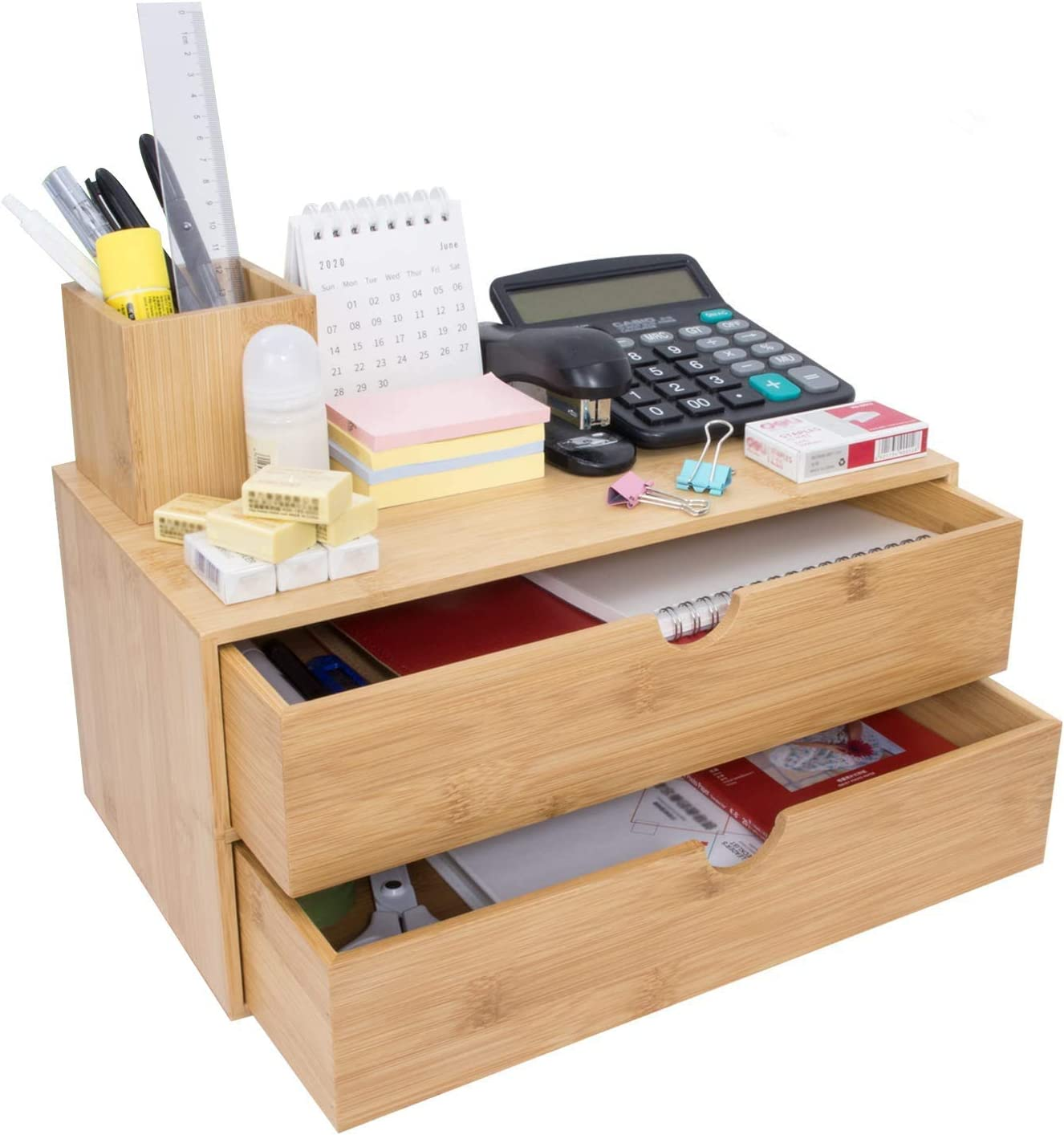 Bamboo Desk Organizer - Mini Bamboo Desk Drawer Tabletop Cosmetic Storage Organization for Office or Home (2 Drawer)