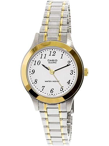 ef91b8d4a49e CASIO 19430 LTP-1128G-7B - Reloj Señora Cuarzo Brazalete metálico dial  Blanco  Casio  Amazon.es  Relojes