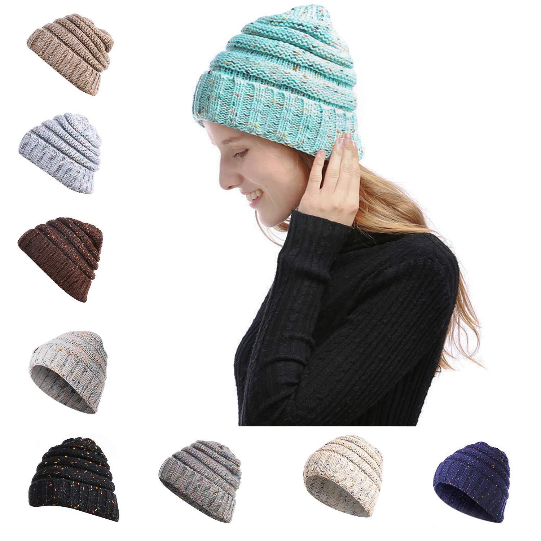 Baby bluee1 NeuFashion Confetti Knit Messy Bun Beanie Tail Hat