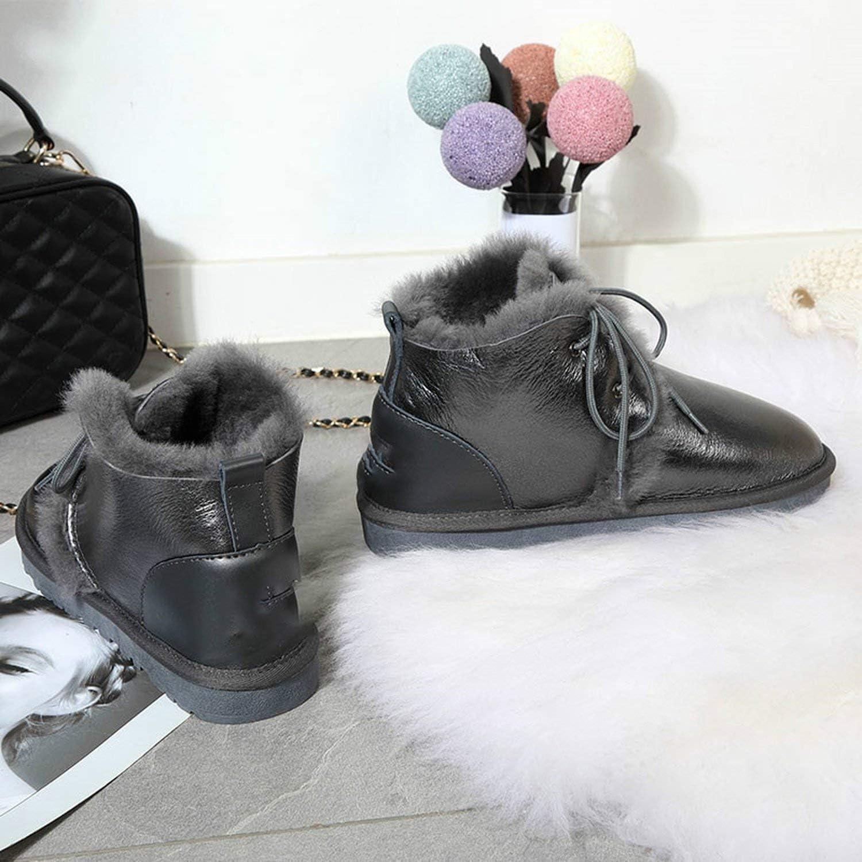 Wool Fur Snow Boots Women Winter Warm Shoes Waterproof 2019 Genuine Leather Ankle