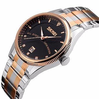 Top Brand New Skmei relojes marca de lujo 304 Acero inoxidable hombres cuarzo reloj negocio reloj hombres relojes: Amazon.es: Relojes