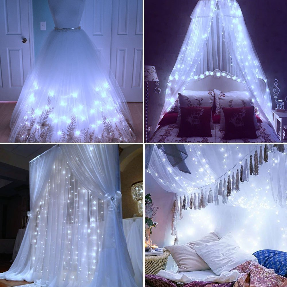 LE LED Window Curtain String Light, 306 LED Icicle Light String, 9.8ft x 9.8ft, 8 Modes Setting, Daylight White Fairy Light String for Indoor Outdoor Wall Decoration Wedding Party Home Garden by Lighting EVER (Image #2)