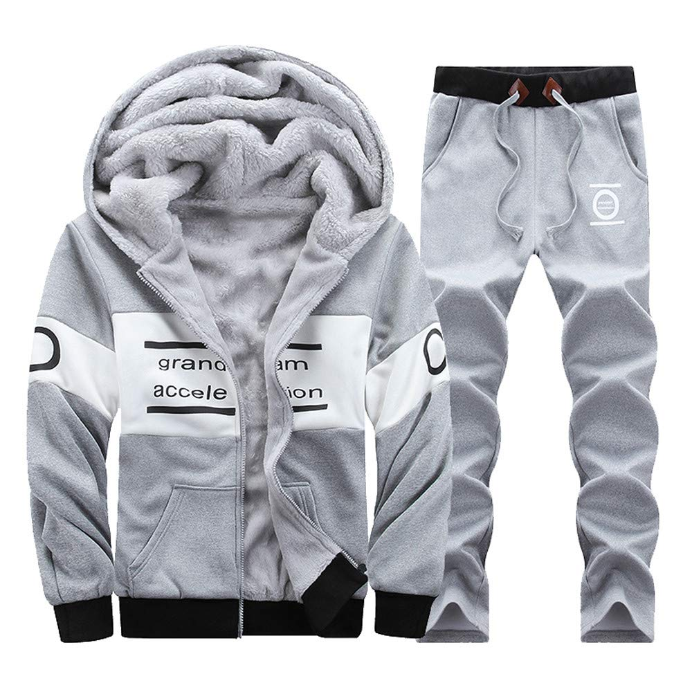 GREFER Clearance! Men's Tops + Pants Sets Winter Warm Long Sleeved Zipper Hoodie Thickening Leisure Suit by GREFER