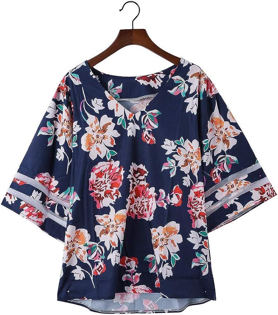 Vendita Maglia Pannello Camicetta per Donne丨2019 Estate Casual 3//4 Campana Manica Sciolto Shirt丨Donna Elegante Girocollo Solido Maglie Top Camicie