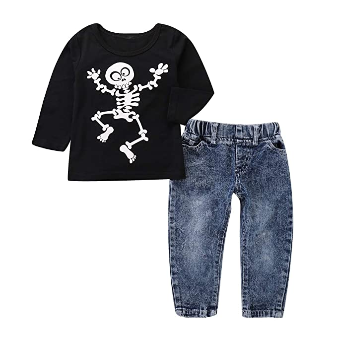 Amazon.com: 1-5T Toddler Spring Halloween Skull Print Shirt ...