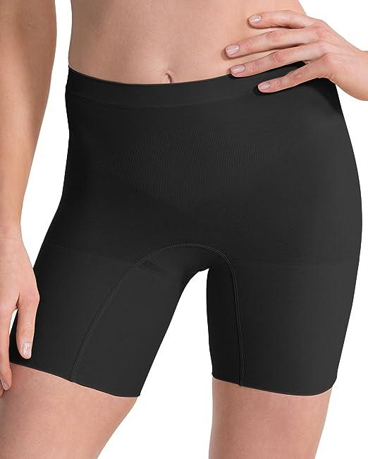 Spanx - Calzas tipo short con lujosa faja reductora tipo braga para mujer, liviana,