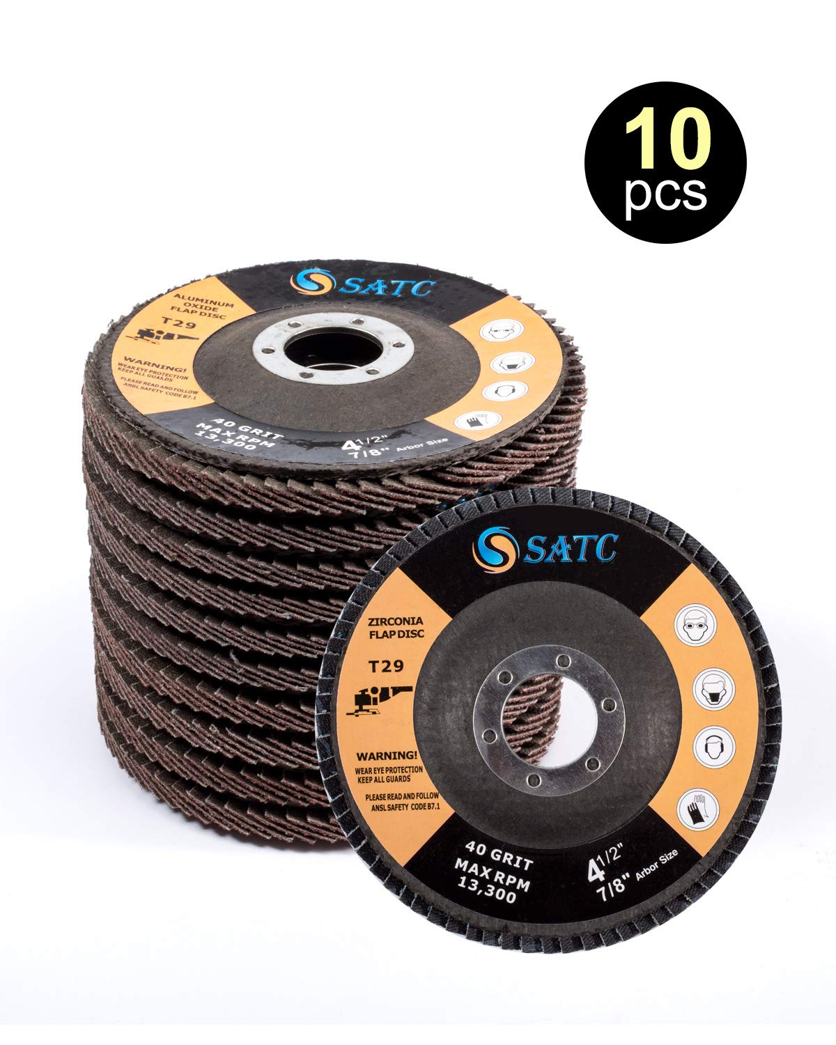 Flap Disc 10 PCS 40 Grit Grinding Wheel Aluminum Oxide 29 Flap Type SATC
