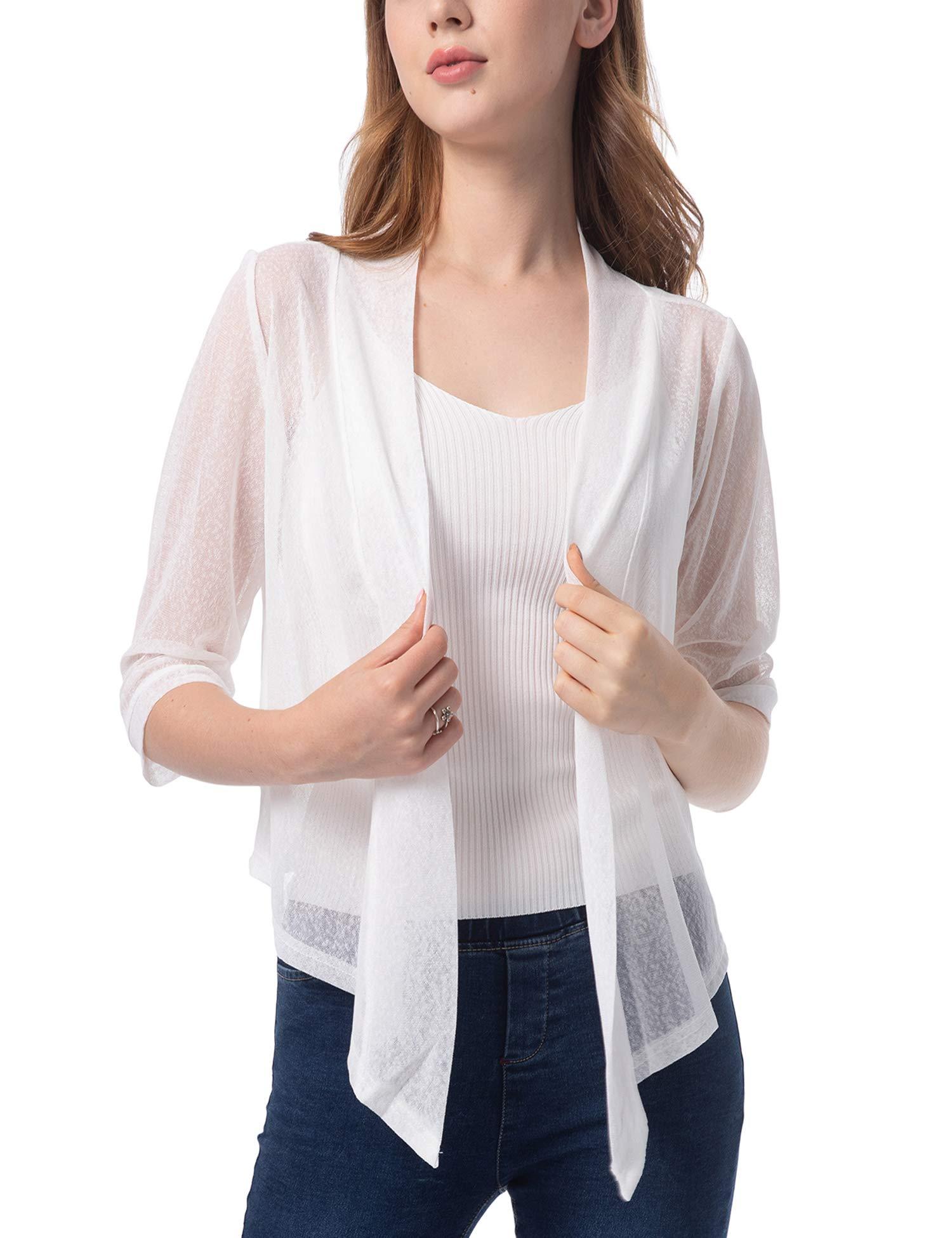 423c4667776945 Women's Tie Front 3/4 Sleeve Shrug Sheer Wrap Cropped Bolero Top Thin  Cardigan product