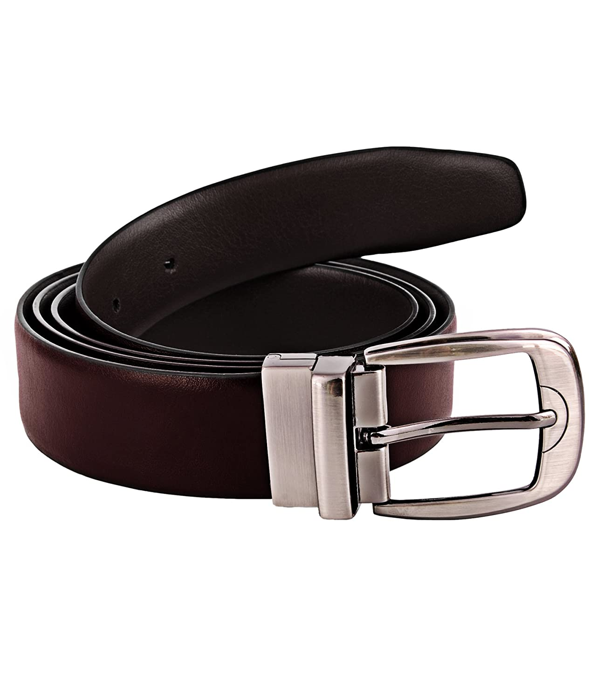 ZINT Mens Genuine Leather Formal Reversible Black Brown Belt